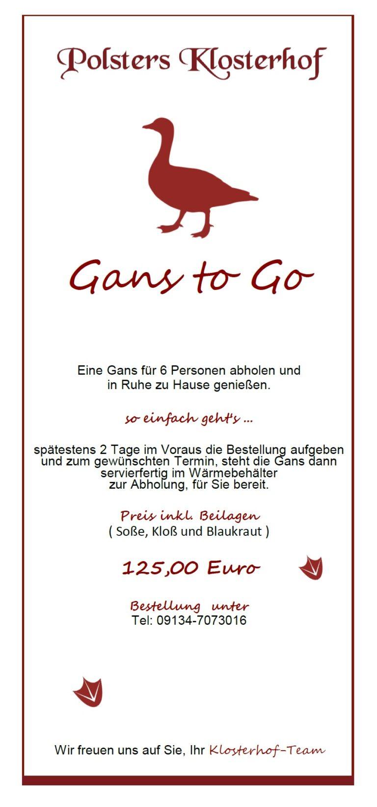 Gans To Go!!!! Ab 11.11